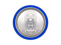 Blue can of soda, view from the top Royalty Free Stock Photography