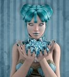 Blue candies. Beautiful fantasy girl with blue candies Royalty Free Stock Photography