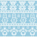 Blue candinavian vintage Christmas  Nordic seamless pattern with penguin, angel, teddy bear, xmas gifts, hearts, decorative orname Stock Photos