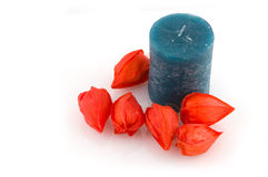Blue candle Stock Photography