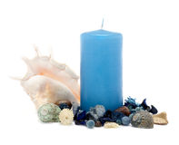 Blue candle with decoration Stock Images
