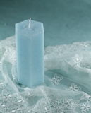 Blue candle. Made of palm oil Royalty Free Stock Photos