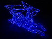 Blue Candle Tip LED Lights shaped in Deer Stock Photography