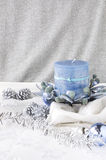 Blue candle on white Stock Photos
