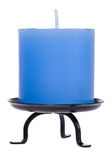 Blue candle on white. Blue candle isolated on white with clipping path Royalty Free Stock Images