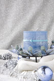 Blue candle in winter Royalty Free Stock Photo