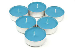 Blue Candlelight Tea Lights Stock Images