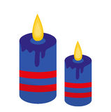 Blue candles icon, flat style. Isolated on white background. Vector illustration. Blue candles icon, flat style. Isolated on white background. Vector Stock Photography