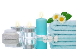 Blue candles and spa objects royalty free stock photos