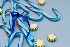 Blue Candy Canes Royalty Free Stock Images