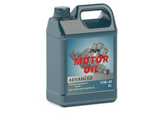 Blue canister motor oil Royalty Free Stock Images