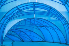 Blue canopy. Blue transparent arched canopy over the entrance Royalty Free Stock Images