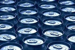 Blue cans Royalty Free Stock Images