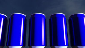 Blue cans against sky at sunset. Soft drinks or beer for party. Beach bar. 3D rendering. Blue cans against sky at sunset. Soft drinks or beer for party. Beach Stock Photo