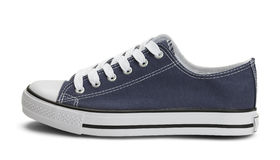Blue Canvas Shoe Side Royalty Free Stock Images