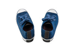 Blue canvas shoes isolated on white background Stock Photos