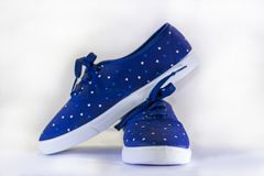 Blue canvas shoes on a white background stock image