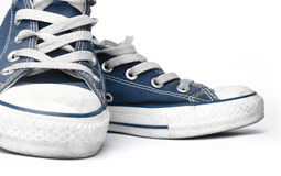 Blue canvas sneakers Stock Photo