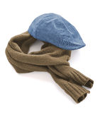 Blue cap and brown warm scarf Royalty Free Stock Images