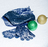 Blue cap with Christmas ornaments Stock Images