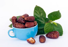 Blue cap full of dried dates. And leaves Royalty Free Stock Photo