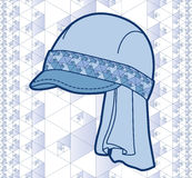 Blue cap with geometric pattern. Plus seamless background pattern royalty free illustration