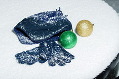 Blue cap and gloves with ornaments Stock Photography