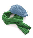 Blue cap and green warm scarf Royalty Free Stock Photo