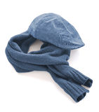 Blue cap and warm scarf Stock Image