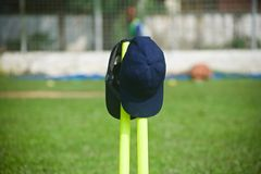 Blue caps hanging on the plastic stumps. Blue sports caps hanging on the plastic stumps isolated unique photo royalty free stock images