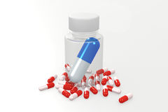 Blue capsule in the bottle. Images generate is on PC. It symbolizes the superiority of one drug over another Stock Photos