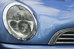 Blue car. Close up of a blue car Royalty Free Stock Images