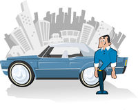 Blue car. Man with Blue convertible car and city on the background Royalty Free Stock Photography