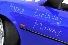 Blue car. Happy birthday mommy congratulation on the blue car Stock Photography