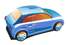 Blue car. Illustration of blue saloon car Royalty Free Stock Image