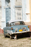Blue car. An old car  in Trinidad traditional village at Cuba Royalty Free Stock Photos