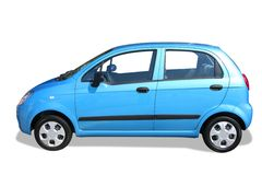 Blue car. Isolated on white - side view royalty free stock photos