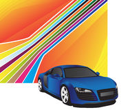 Blue car. On the colorful background Royalty Free Stock Photo