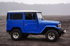Blue car in bromo. Indonesia Stock Photography