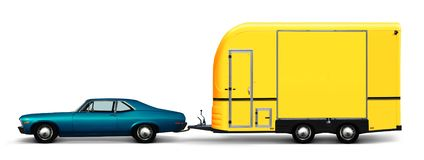 Blue car and camper van. 3D illustration of blue retro car and yellow camper van isolated on white background royalty free illustration