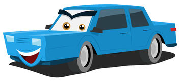Blue Car Character Royalty Free Stock Photo