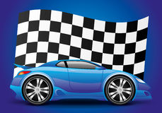 Blue car and checkered flag. Blue car and checkered flag on a blue background Stock Photography