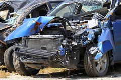 Blue car crash Stock Photography