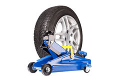 Blue car Floor Jack with whell isolated stock photos