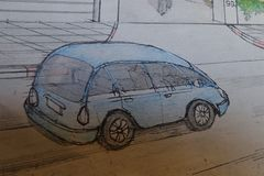 Blue car hand drawing. Pencil drawing and painting little blue car royalty free stock image
