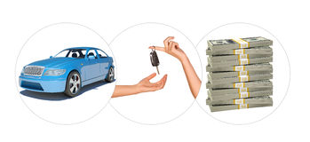 Blue car with hands and bundle of money Royalty Free Stock Images