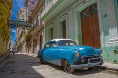 Blue car. In havana street Stock Photo