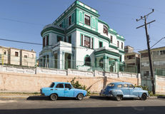 Blue car in Havana Royalty Free Stock Images