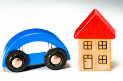 Blue car and house Stock Photo