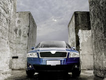 Blue car industrial Royalty Free Stock Photography